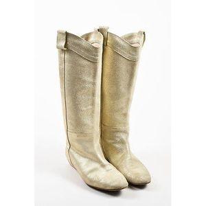 New Loefler Randal gold glitter knee boots